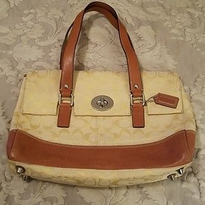 Coach yellow signature with tan leather trim